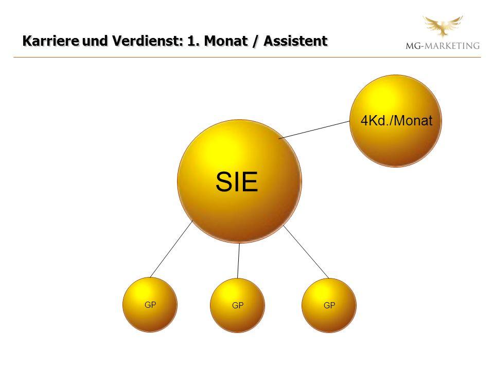 Karriere und Verdienst: 1. Monat / Assistent SIE GP 4Kd./Monat GP