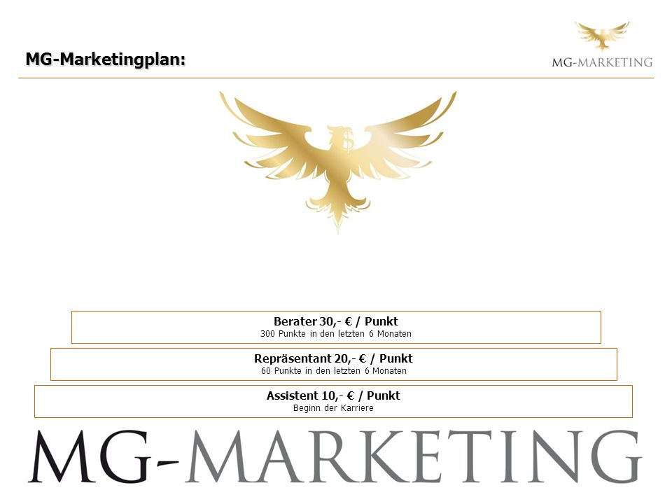 MG-Marketingplan: Berater 30,- / Punkt 300 Punkte in den letzten 6 Monaten Repräsentant 20,- / Punkt 60 Punkte in den letzten 6 Monaten Assistent 10,-