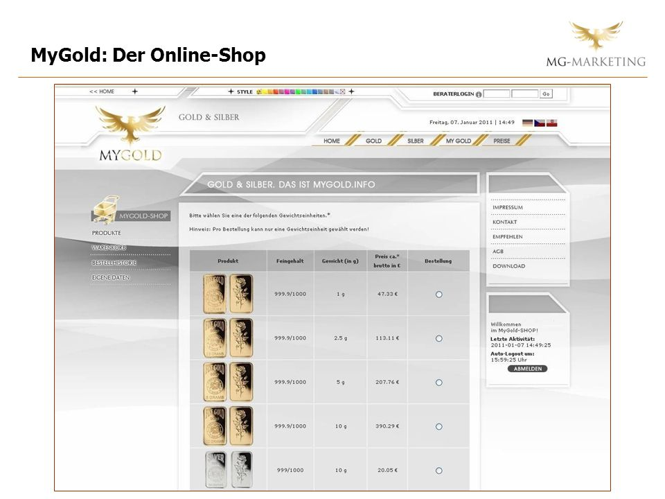 MyGold: Der Online-Shop
