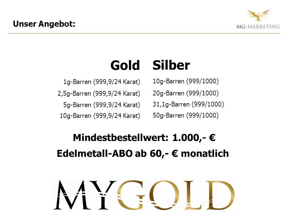 Unser Angebot: Mindestbestellwert: 1.000,- Silber 10g-Barren (999/1000) 20g-Barren (999/1000) 31,1g-Barren (999/1000) 50g-Barren (999/1000) Gold 1g-Ba