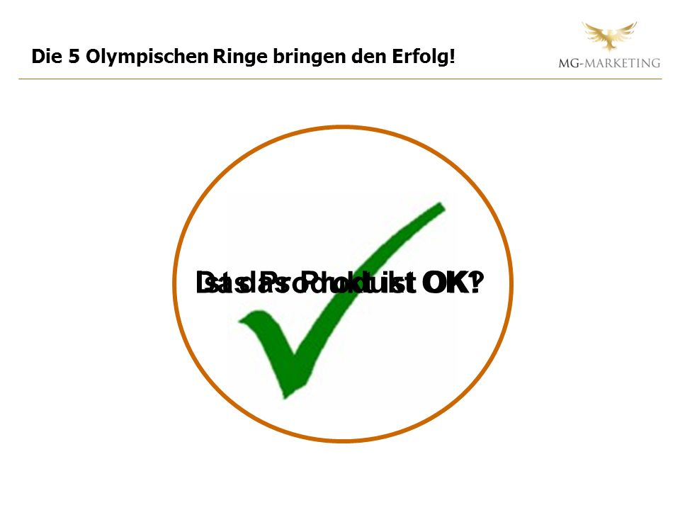 Ist das Produkt OK? Die 5 Olympischen Ringe bringen den Erfolg! Das Produkt ist OK!