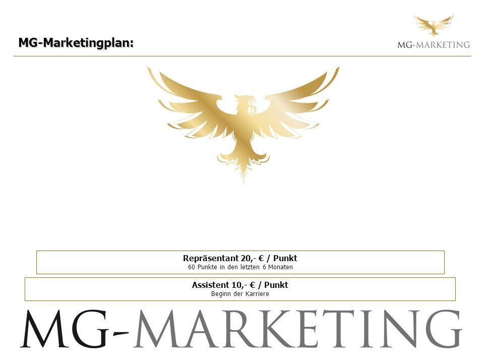 MG-Marketingplan: Repräsentant 20,- / Punkt 60 Punkte in den letzten 6 Monaten Assistent 10,- / Punkt Beginn der Karriere