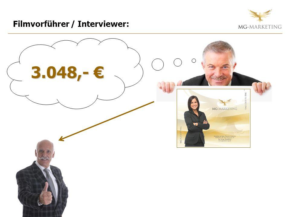 Filmvorführer / Interviewer: 3.048,- 3.048,-