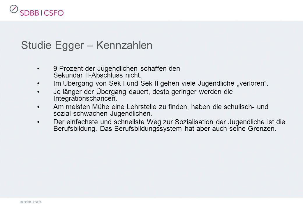 Studie Egger – Kennzahlen 9 Prozent der Jugendlichen schaffen den Sekundar II-Abschluss nicht.