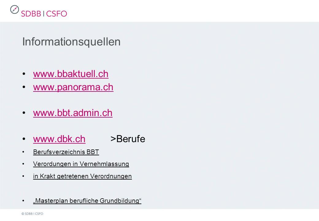 Informationsquellen www.bbaktuell.ch www.panorama.ch www.bbt.admin.ch www.dbk.ch>Berufewww.dbk.ch Berufsverzeichnis BBT Verordungen in Vernehmlassung in Krakt getretenen Verordnungen Masterplan berufliche Grundbildung