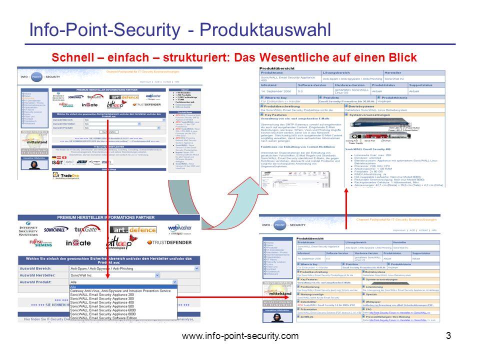 www.info-point-security.com3 Info-Point-Security - Produktauswahl Schnell – einfach – strukturiert: Das Wesentliche auf einen Blick