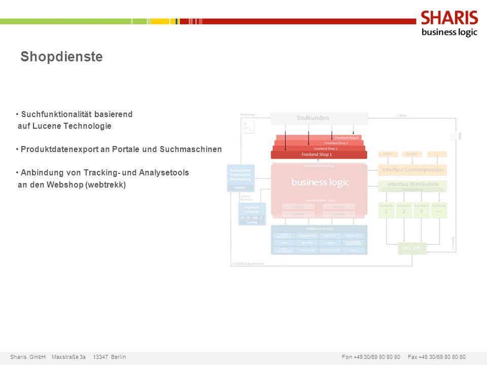 Sharis GmbH Maxstraße 3a 13347 Berlin Fon +49 30/69 80 80 80 Fax +49 30/69 80 80 60 Shopdienste Suchfunktionalität basierend auf Lucene Technologie Pr