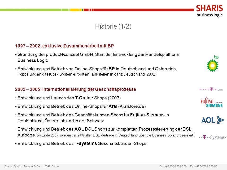 Sharis GmbH Maxstraße 3a 13347 Berlin Fon +49 30/69 80 80 80 Fax +49 30/69 80 80 60 1997 – 2002: exklusive Zusammenarbeit mit BP Gründung der product+