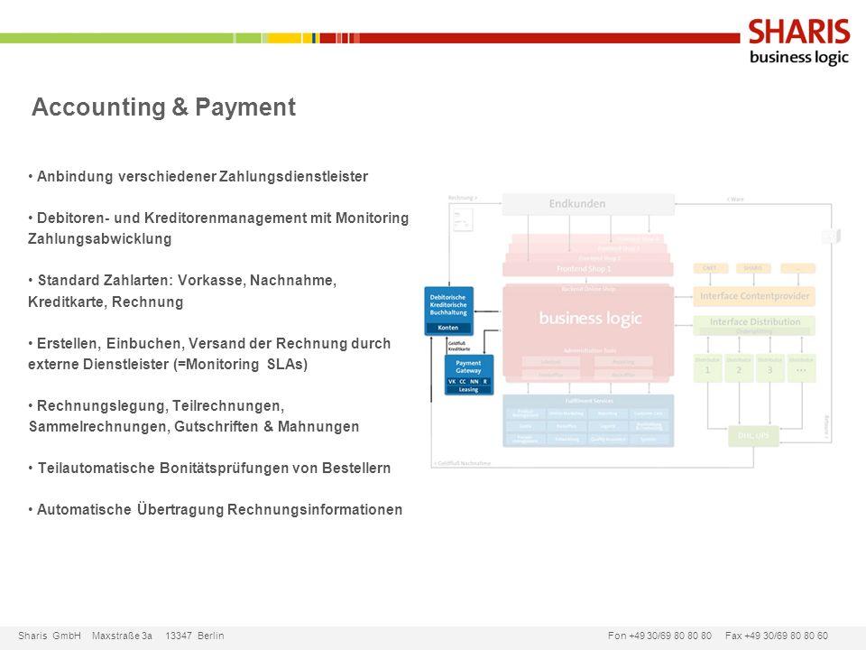 Sharis GmbH Maxstraße 3a 13347 Berlin Fon +49 30/69 80 80 80 Fax +49 30/69 80 80 60 Accounting & Payment Anbindung verschiedener Zahlungsdienstleister