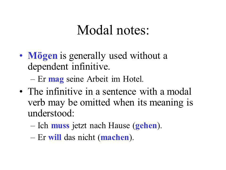 Modal notes: Mögen is generally used without a dependent infinitive.