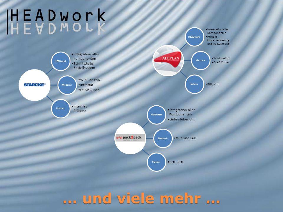 HEADwork Integration aller Komponenten Schnittstelle Bestellsystem Mesonic WinLine FAKT Intrastat OLAP Cubes Partner Internet Präsenz HEADwork Integra