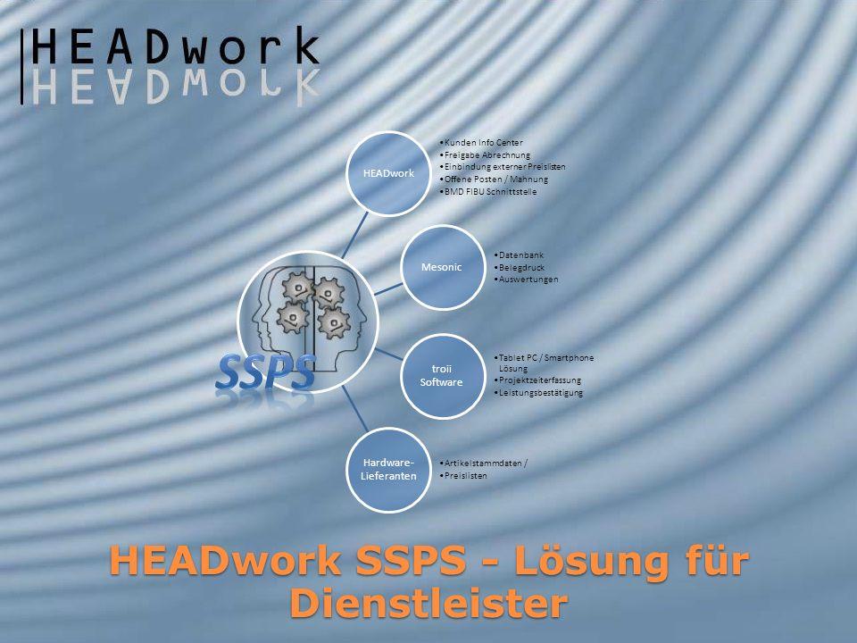 HEADwork SSPS - Lösung für Dienstleister HEADwork Kunden Info Center Freigabe Abrechnung Einbindung externer Preislisten Offene Posten / Mahnung BMD F
