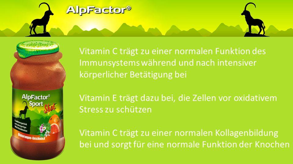 Vitamin C trägt zu einer normalen Funktion des Immunsystems während und nach intensiver körperlicher Betätigung bei Vitamin E trägt dazu bei, die Zellen vor oxidativem Stress zu schützen Vitamin C trägt zu einer normalen Kollagenbildung bei und sorgt für eine normale Funktion der Knochen