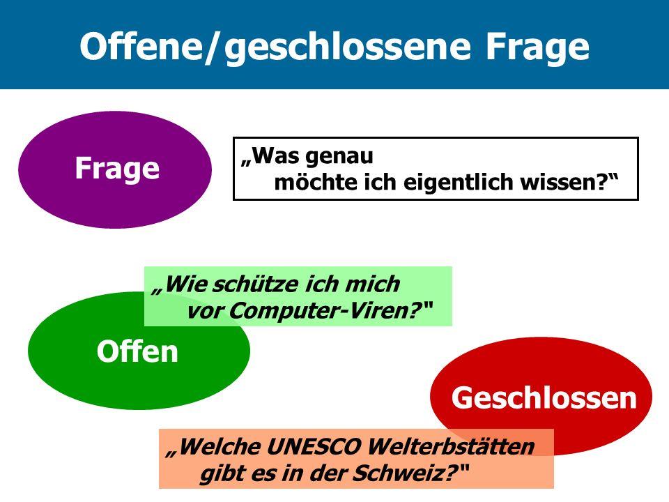 Offene/geschlossene Frage Was genau möchte ich eigentlich wissen? Frage Geschlossen Offen Welche UNESCO Welterbstätten gibt es in der Schweiz? Wie sch