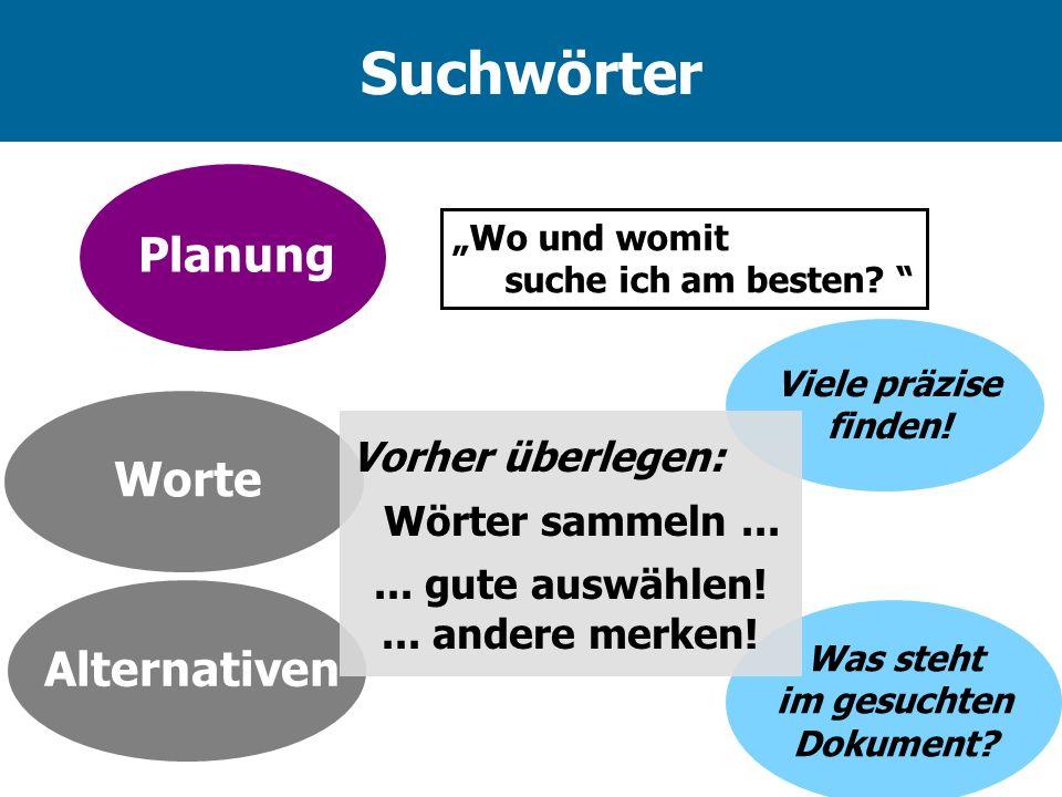 Viele präzise finden! Suchwörter Wo und womit suche ich am besten? Planung AlternativenWorte Vorher überlegen: Wörter sammeln...... gute auswählen!...