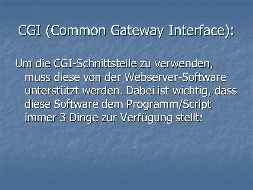 CGI (Common Gateway Interface): Um die CGI-Schnittstelle zu verwenden, muss diese von der Webserver-Software unterstützt werden.