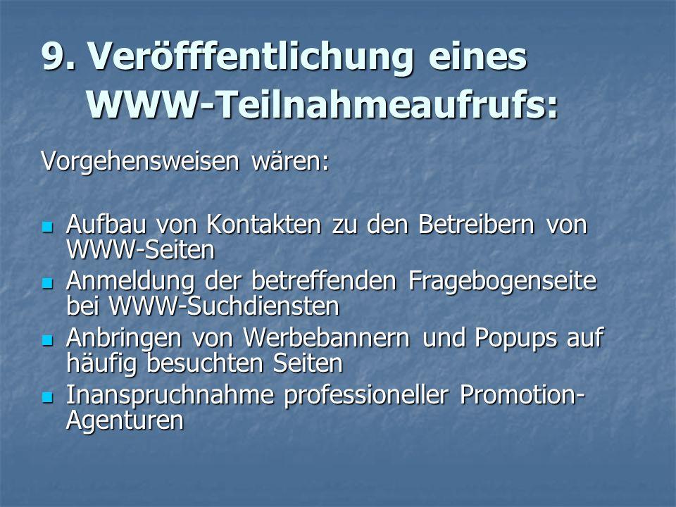 9. Veröfffentlichung eines WWW-Teilnahmeaufrufs: Vorgehensweisen wären: Aufbau von Kontakten zu den Betreibern von WWW-Seiten Aufbau von Kontakten zu