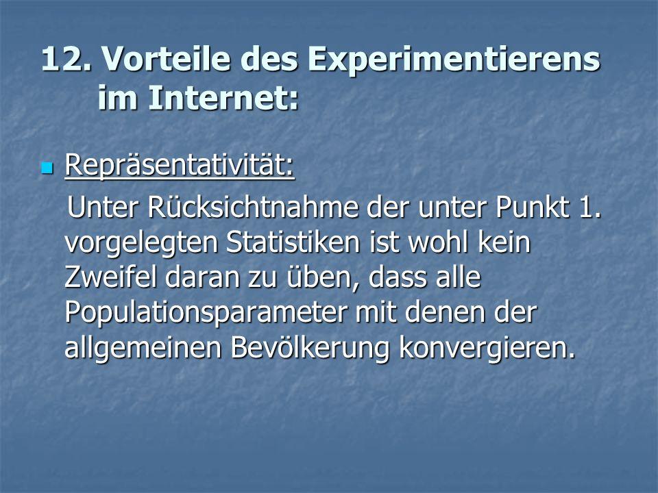 12. Vorteile des Experimentierens im Internet: Repräsentativität: Repräsentativität: Unter Rücksichtnahme der unter Punkt 1. vorgelegten Statistiken i