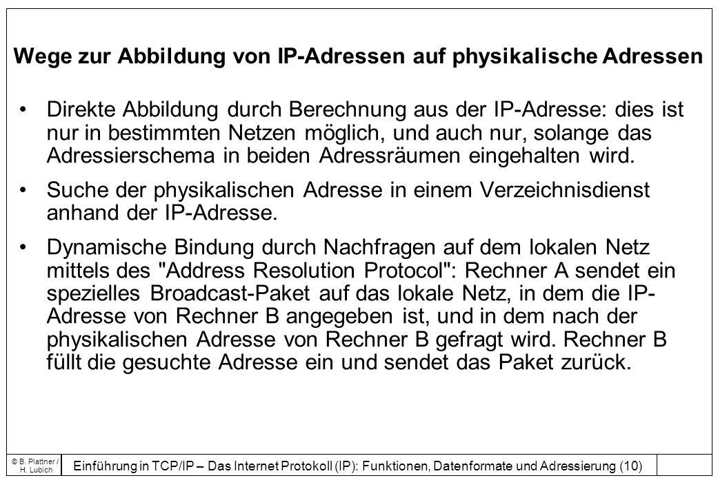 Einführung in TCP/IP – Das Internet Protokoll (IP): Funktionen, Datenformate und Adressierung (10) © B.