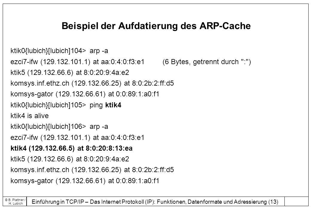 Einführung in TCP/IP – Das Internet Protokoll (IP): Funktionen, Datenformate und Adressierung (13) © B.