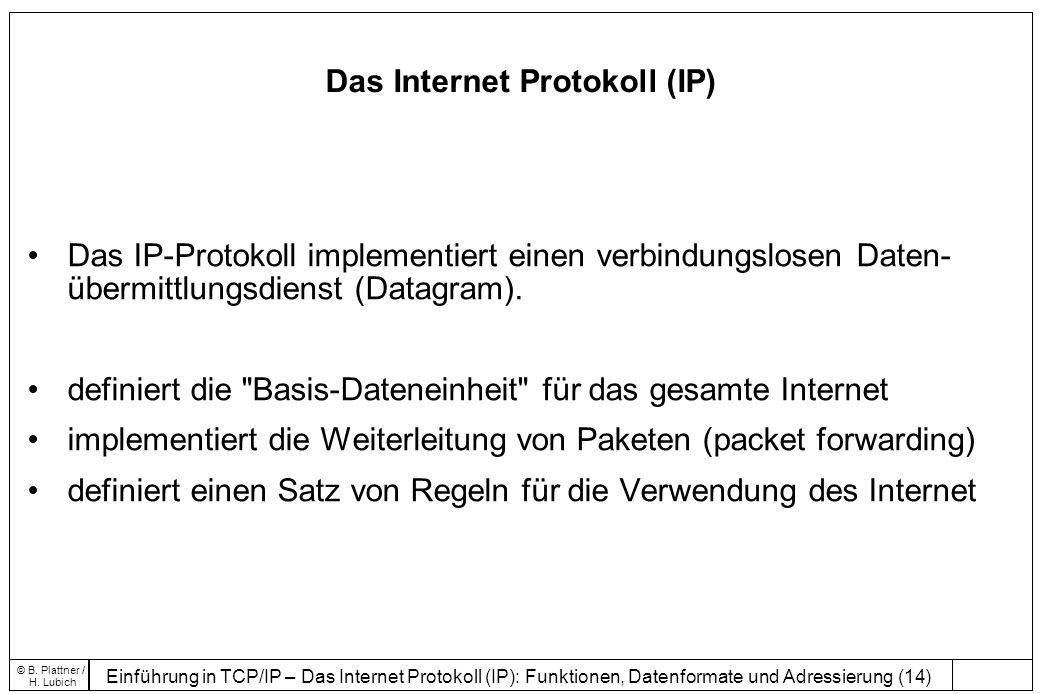 Einführung in TCP/IP – Das Internet Protokoll (IP): Funktionen, Datenformate und Adressierung (14) © B.