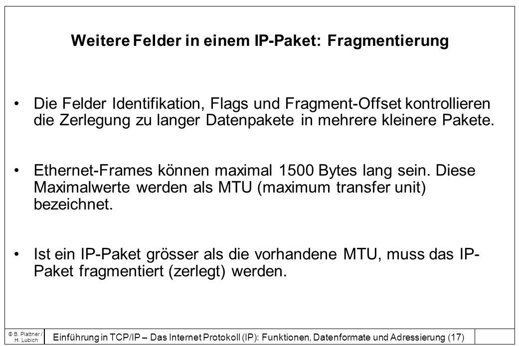 Einführung in TCP/IP – Das Internet Protokoll (IP): Funktionen, Datenformate und Adressierung (17) © B.