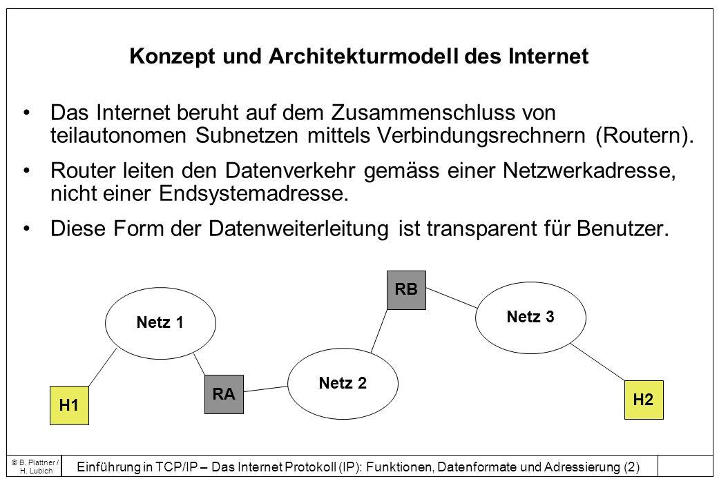 Einführung in TCP/IP – Das Internet Protokoll (IP): Funktionen, Datenformate und Adressierung (23) © B.
