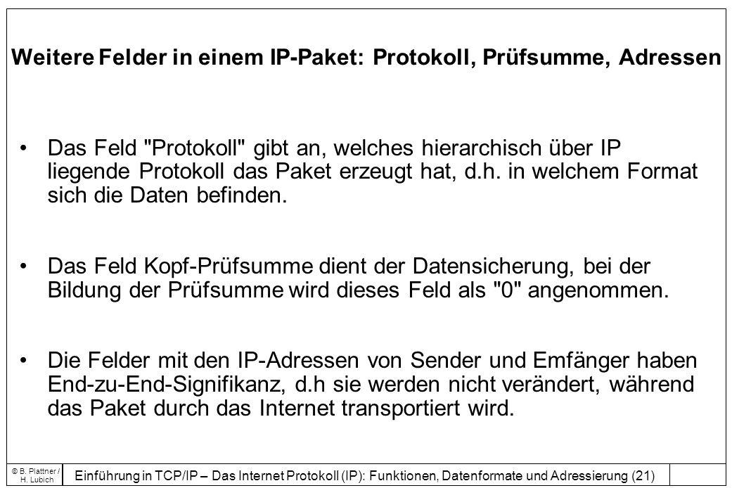 Einführung in TCP/IP – Das Internet Protokoll (IP): Funktionen, Datenformate und Adressierung (21) © B.