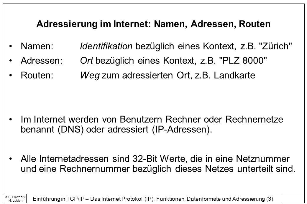 Einführung in TCP/IP – Das Internet Protokoll (IP): Funktionen, Datenformate und Adressierung (3) © B.
