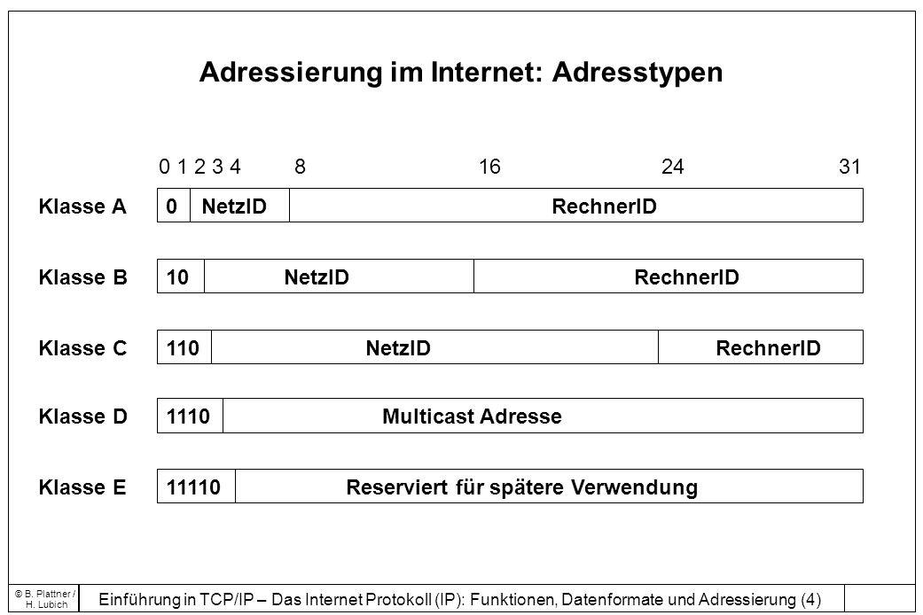 Einführung in TCP/IP – Das Internet Protokoll (IP): Funktionen, Datenformate und Adressierung (4) © B.