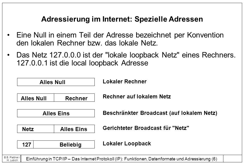Einführung in TCP/IP – Das Internet Protokoll (IP): Funktionen, Datenformate und Adressierung (7) © B.