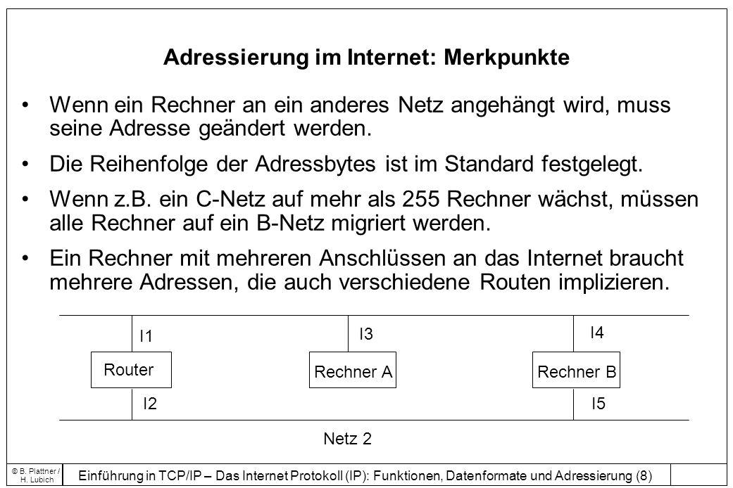 Einführung in TCP/IP – Das Internet Protokoll (IP): Funktionen, Datenformate und Adressierung (19) © B.
