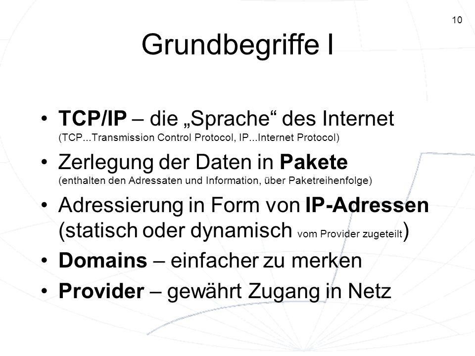 10 Grundbegriffe I TCP/IP – die Sprache des Internet (TCP...Transmission Control Protocol, IP...Internet Protocol) Zerlegung der Daten in Pakete (enth