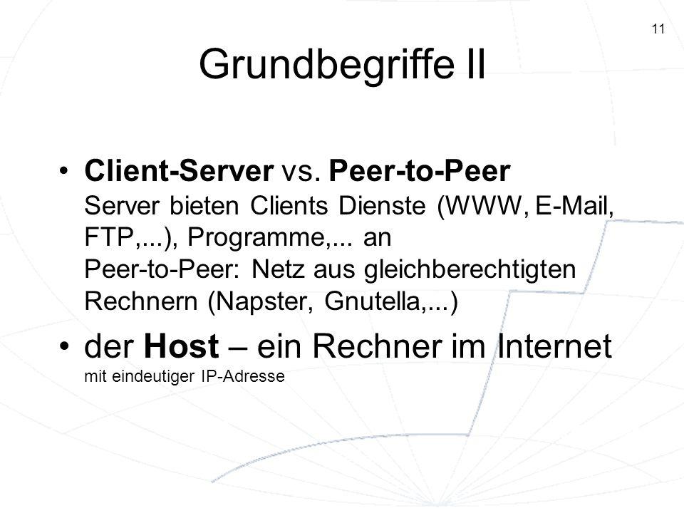 11 Grundbegriffe II Client-Server vs. Peer-to-Peer Server bieten Clients Dienste (WWW, E-Mail, FTP,...), Programme,... an Peer-to-Peer: Netz aus gleic