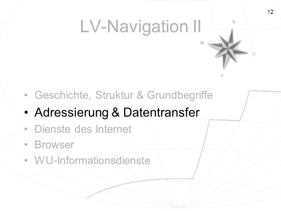 12 LV-Navigation II Geschichte, Struktur & Grundbegriffe Adressierung & Datentransfer Dienste des Internet Browser WU-Informationsdienste