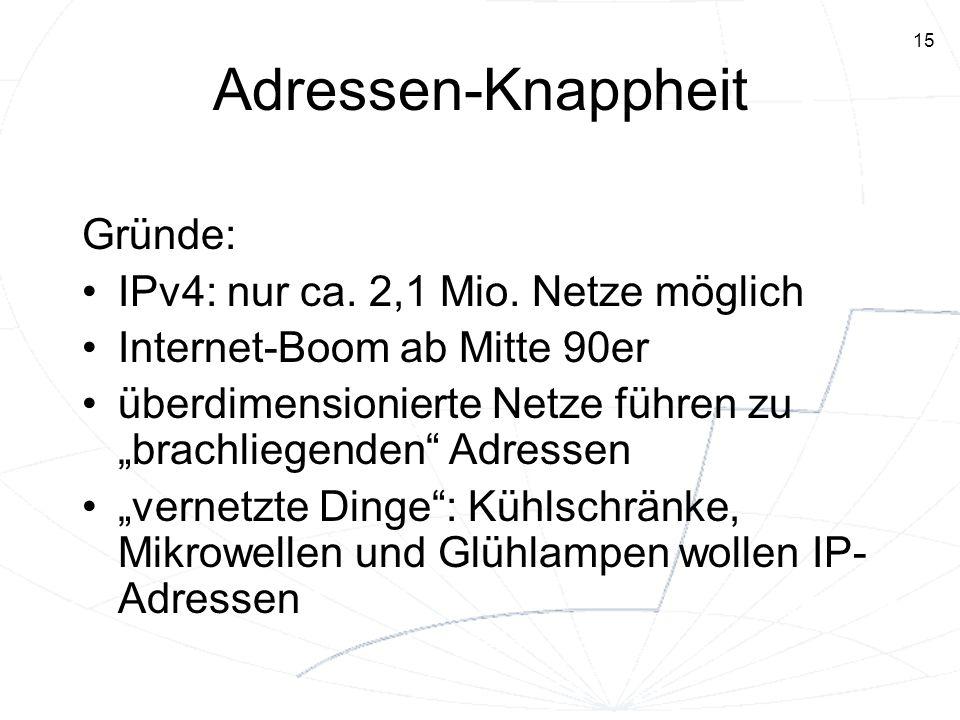 15 Adressen-Knappheit Gründe: IPv4: nur ca. 2,1 Mio. Netze möglich Internet-Boom ab Mitte 90er überdimensionierte Netze führen zubrachliegenden Adress