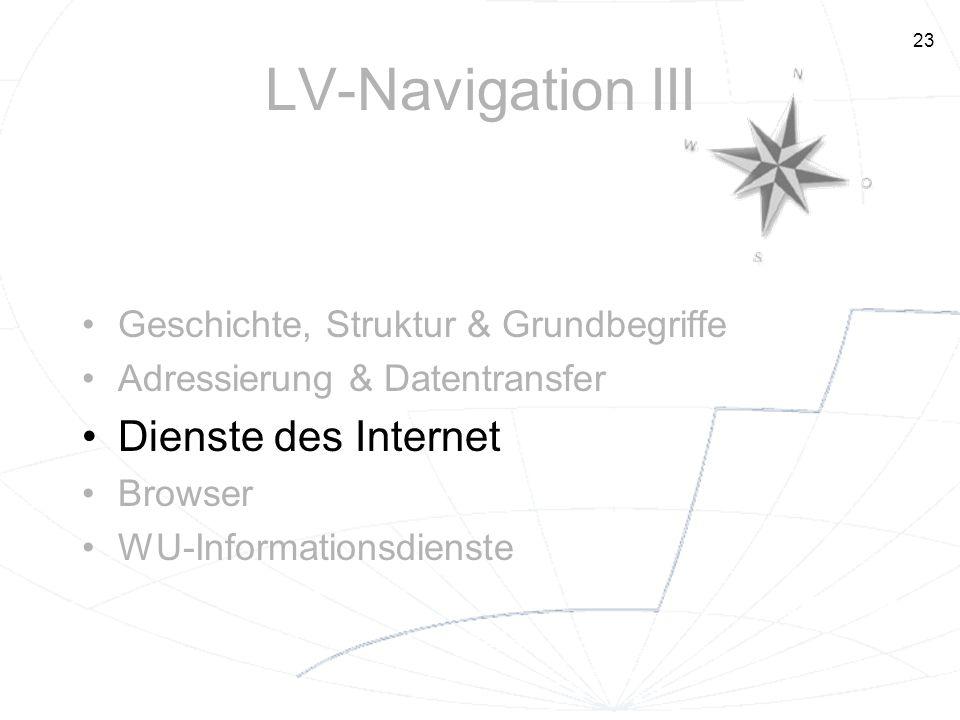 23 LV-Navigation III Geschichte, Struktur & Grundbegriffe Adressierung & Datentransfer Dienste des Internet Browser WU-Informationsdienste