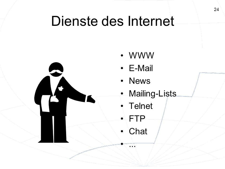 24 Dienste des Internet WWW E-Mail News Mailing-Lists Telnet FTP Chat...