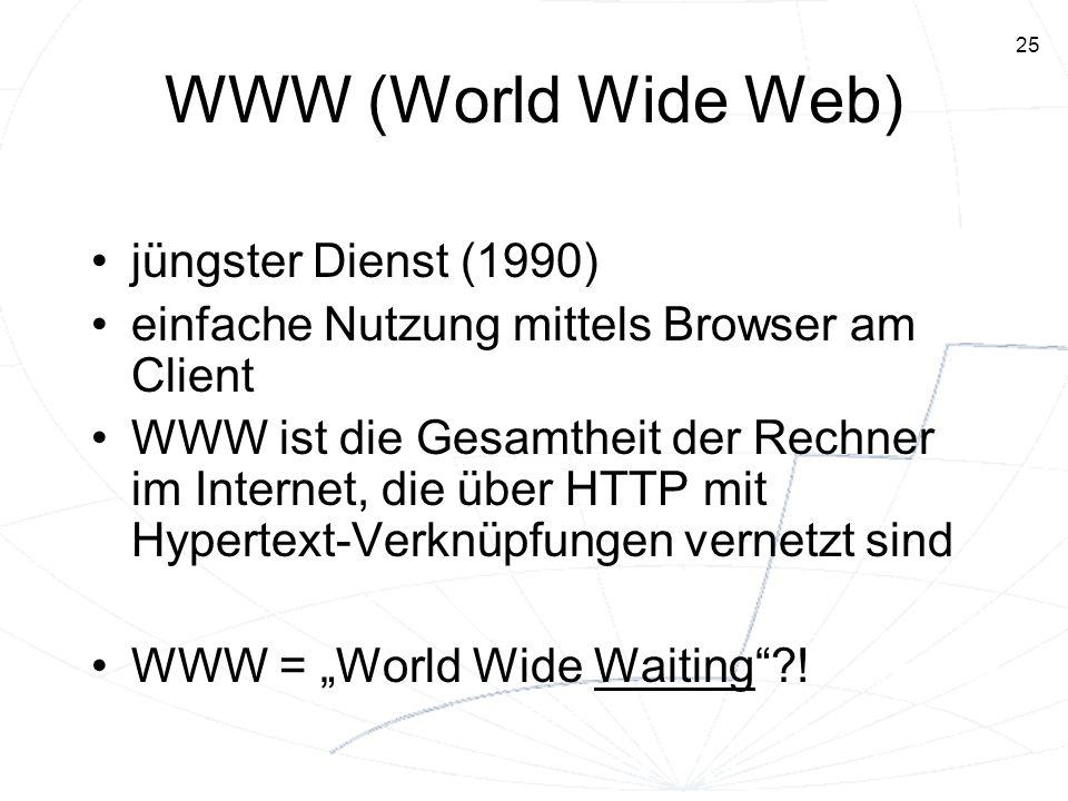25 WWW (World Wide Web) jüngster Dienst (1990) einfache Nutzung mittels Browser am Client WWW ist die Gesamtheit der Rechner im Internet, die über HTT