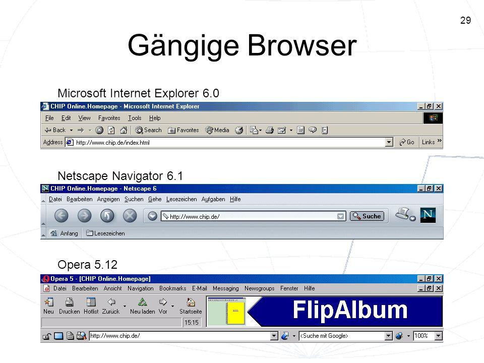 29 Gängige Browser Microsoft Internet Explorer 6.0 Netscape Navigator 6.1 Opera 5.12