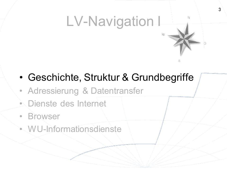 3 LV-Navigation I Geschichte, Struktur & Grundbegriffe Adressierung & Datentransfer Dienste des Internet Browser WU-Informationsdienste