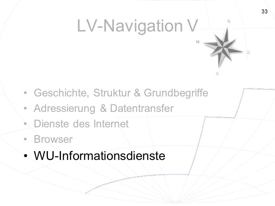 33 LV-Navigation V Geschichte, Struktur & Grundbegriffe Adressierung & Datentransfer Dienste des Internet Browser WU-Informationsdienste