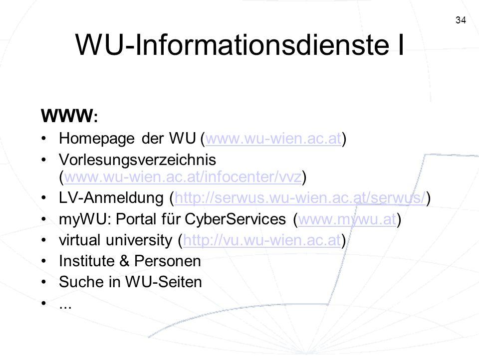 34 WU-Informationsdienste I WWW : Homepage der WU (www.wu-wien.ac.at)www.wu-wien.ac.at Vorlesungsverzeichnis (www.wu-wien.ac.at/infocenter/vvz)www.wu-