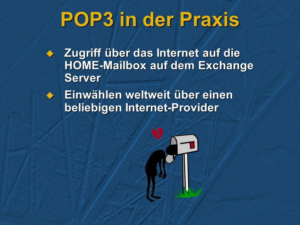 POP 3 Zugriff über TCP/IP auf Exchange Mailboxen Zugriff über TCP/IP auf Exchange Mailboxen Diverse Clients (WIN95 Exchange, Eudora) Diverse Clients (