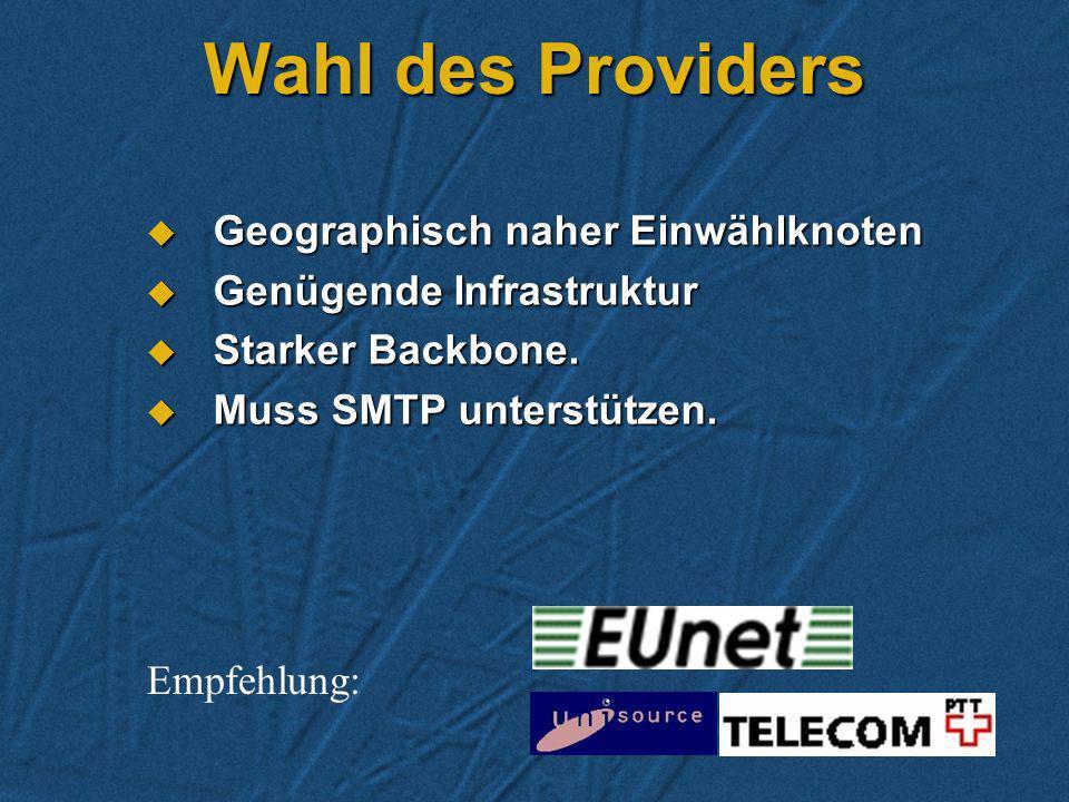 SMTP-Internet Vorteile Vorteile Weltweiter Standard, effizient.