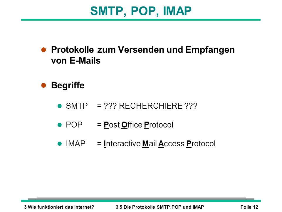 Folie 123 Wie funktioniert das Internet?3.5 Die Protokolle SMTP, POP und IMAP SMTP, POP, IMAP l Protokolle zum Versenden und Empfangen von E-Mails l B