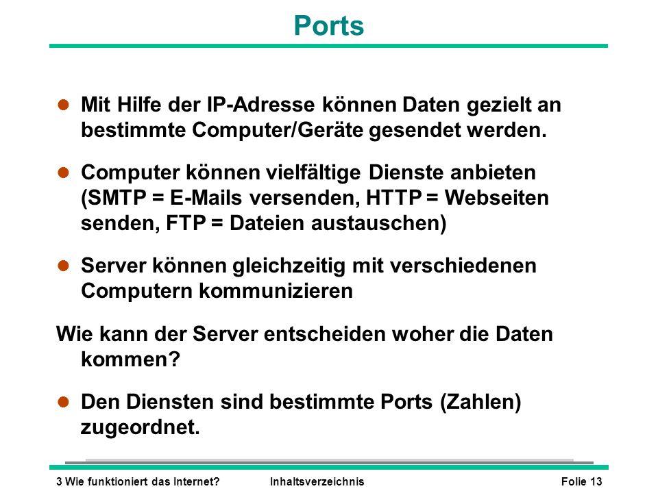 Folie 133 Wie funktioniert das Internet?Inhaltsverzeichnis Ports l Mit Hilfe der IP-Adresse können Daten gezielt an bestimmte Computer/Geräte gesendet