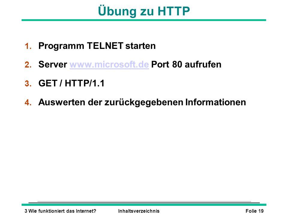 Folie 193 Wie funktioniert das Internet?Inhaltsverzeichnis Übung zu HTTP 1. Programm TELNET starten 2. Server www.microsoft.de Port 80 aufrufenwww.mic