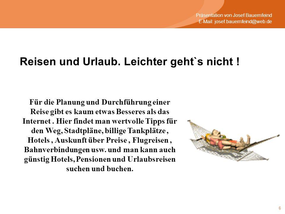 7 Präsentation von Josef Bauernfeind E-Mail: josef.bauernfeind@web.de Der neue Personalausweis bringt viele Vorteile mit sich.