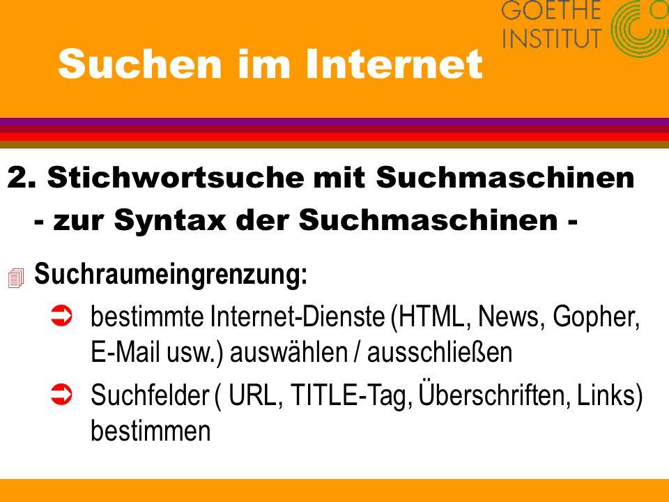 Suchen im Internet 2. Stichwortsuche mit Suchmaschinen - zur Syntax der Suchmaschinen - 4 Suchraumeingrenzung: Übestimmte Internet-Dienste (HTML, News